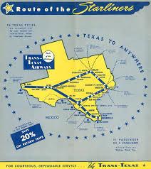 Dallas Love Field Map by Trans Texas Airways Tta World Airline News