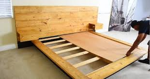 diy platform bed with floating night stands sia magazine