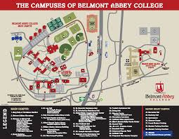 University Of Montana Campus Map by Campus Map Belmont Abbey College Private Catholic Charlotte Nc