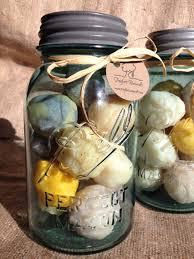 handmade soap balls in a vintage aqua ball mason jar handmade
