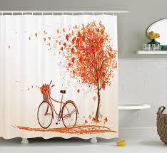 amazon com bicycle decor shower curtain set by ambesonne autumn