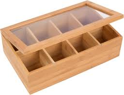bamboo 8 section tea storage box with clear lid by trademark