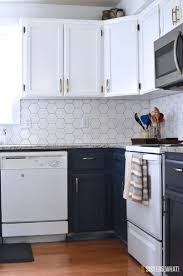 Two Toned Kitchen Cabinets by A Two Toned Diy Kitchen Remodel With Hexagon Tiles Sisters What