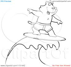 cartoon clipart of a black and white surfing cat vector outlined