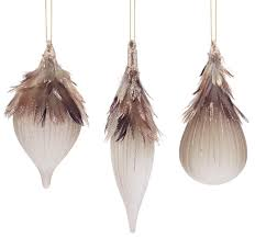 pack of 6 frosted glass drop and bronze feather