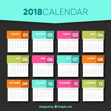 free downloadable calendar template 2018 calendar template in flat design vector free