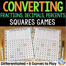 fractions decimals and percents u0027squares u0027 game u2013 games 4 gains