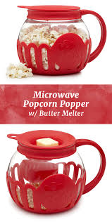 microwave popcorn gets a healthy spin with this glass popper and