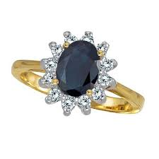 ring diana diana blue sapphire diamond ring 14k yellow gold 2 10 ct