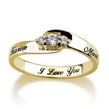 engraved wedding rings engraved engagement promise ring gold plated couples ring