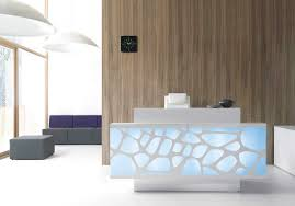Grey Reception Desk Unique Pattern For Modern Reception Desk Design With Bright Chair