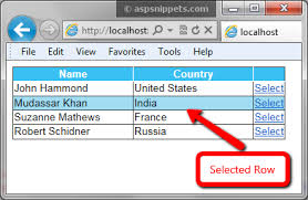 how to change set gridview selected row color in asp net