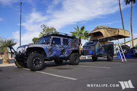 camping jeep wrangler 2017 sema freedom overland blue jeep jk wrangler unlimited trailer