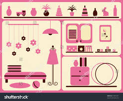 childrens room interior objects set vector stock vector 23841001