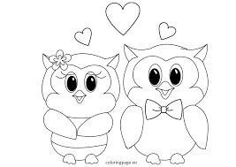 owls love valentines coloring