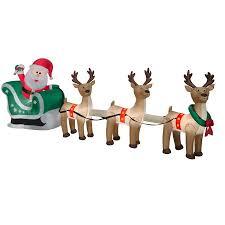 santa sleigh and reindeer airblown santa sleigh and reindeer 12 5ft wide by