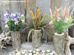 wood log vases 3 qty tree branch vase log flower by churchhousewoodworks
