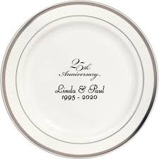 25th anniversary plates personalized 7 inch silver trim plastic dessert plates my wedding reception ideas