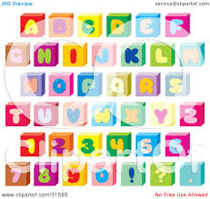 clipart illustration of a font set of colorful letters numbers