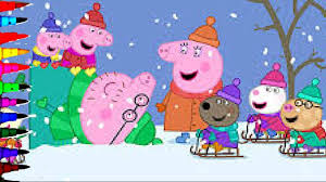 peppa pig and george winter snow making snowman coloring book