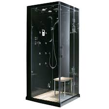 Lowes Bathroom Shower Kits by Shop Northeastern Bath Black Tempered Glass Wall And Stone