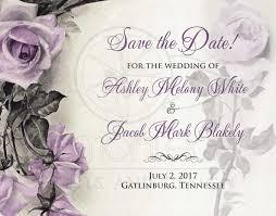 vintage mauve purple wedding save the date postcard