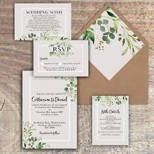 rustic wedding invites personalised luxury rustic wedding invitations green grey leaves