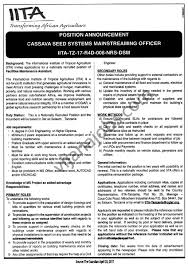 Database Engineer Jobs Cassava Seed Systems Mainstreaming Assistant Officer Tayoa