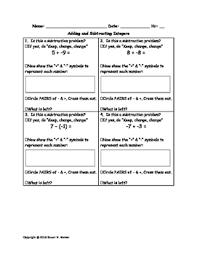 adding u0026 subtracting integers worksheet with keep change change
