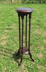 vintage pedestal side table vintage barley twist carved wood pedestal display side table plant