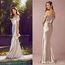 bridesmaid dresses silver silver elastic silk like stain mermaid bridesmaid dresses