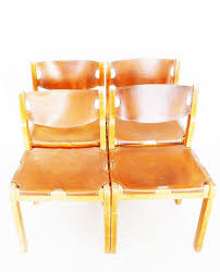 Colored Leather Dining Chairs Mid Century Camel Colored Leather Dining Chairs 1960s Set Of 4