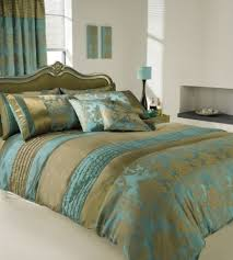 apachi super king size duvet cover bedding set gold teal amazon