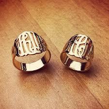 gold monogram rings cut out initial monogram rings in 14k gold jewelry