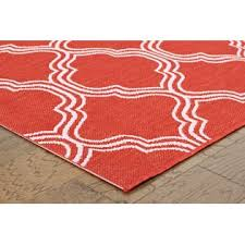 5x7 coral red fretwork indoor outdoor area rug