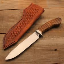 fixed tony miller custom handcrafted knives blog handforged hunter knife 5160 blade stabilized wood curly maple handle domed pin