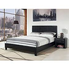 King Bed Frame Upholstered Stratus Eastern King Upholstered Bed Black Faux Leather Walmart