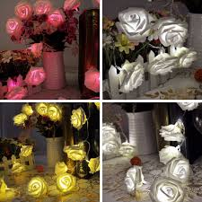 Rose Lights String by 20 Heads Led Rose Flower Fairy Wedding Garden Party Christmas