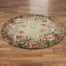 fashionable round area rugs sage garden floral rug wool material