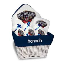 new orleans gift baskets personalized new orleans pelicans medium gift basket nba baby gift