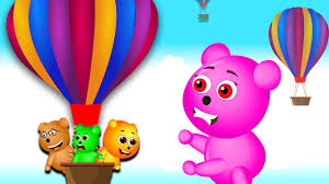 mega gummy bear riding on giant air balloon finger family bad baby