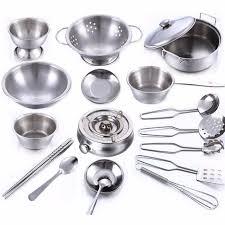 ustensile cuisine enfant 18 pcs en acier inoxydable enfants maison cuisine jouet cuisine