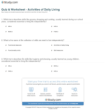 quiz u0026 worksheet activities of daily living study com