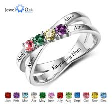 4 mothers ring family friendship ring engrave names custom 4 birthstone 925