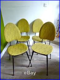 chaises es 50 4 chaises en métal et skaï jaune vintage design des ées 50 dlg