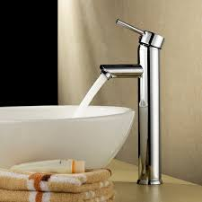 bathroom lavatory vessel sink faucet in brushed nickel for