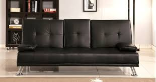 Cinema Style Futon Sofabed With Drinks Table Sofa Bed Faux Leather - Brown sofa beds