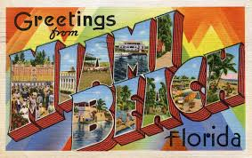 greetings from miami florida vintage postcard