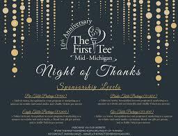 night of thanks u0027 10 year anniversary the first tee of mid michigan