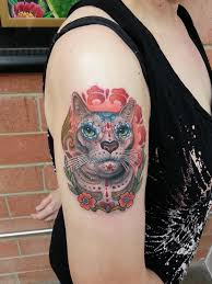 figurehead tattoo tattoos animal sugar skull cat portrait tattoo